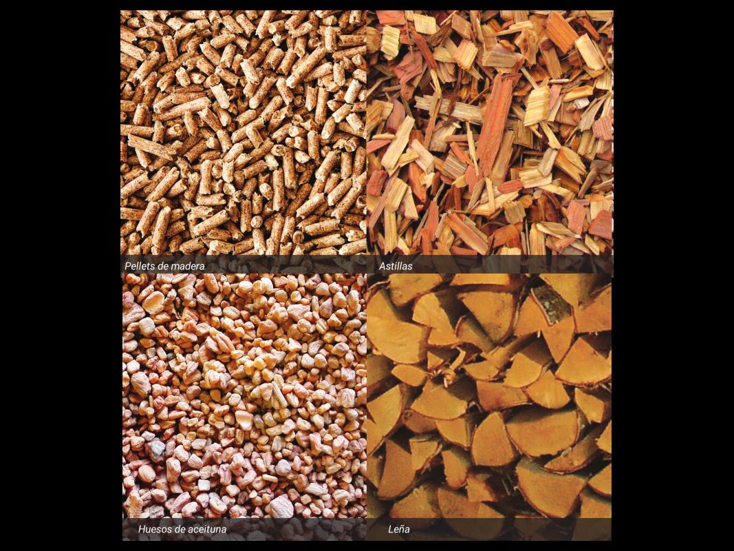 distintos biocombustibles sólidos